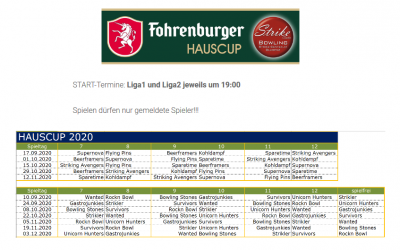 Hauscup – Start auf 19 Uhr vorverlegt!